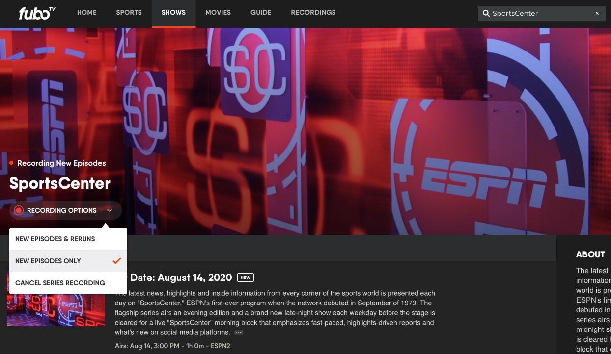 fuboTV Adds DVR Support For ESPN, ABC, FX, Nat Geo, & Other Disney-Owned Channels